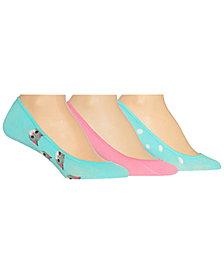 Hot Sox Women's 3-Pk. Assorted Cat Liner Socks