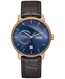 Rado Men's Swiss Automatic Coupole Classic XL Brown Leather Strap Watch 41mm