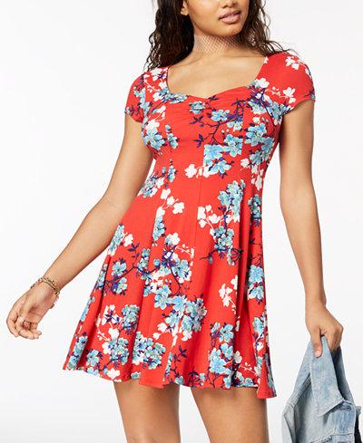 Be Bop Juniors' Printed Fit & Flare Dress