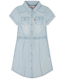 Levi's® Cotton Western Shirtdress, Big Girls