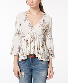 American Rag Juniors' Lace-Up Babydoll Top, Created for Macy's
