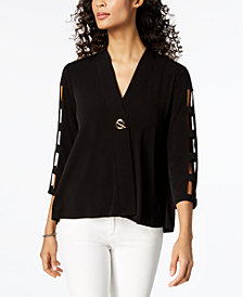 JM Collection Petite Cage-Sleeve Top, Created for Macy's