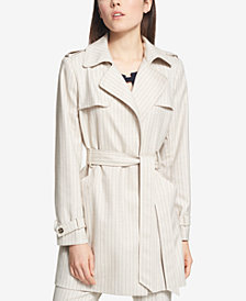 Tommy Hilfiger Pinstriped Trench Coat