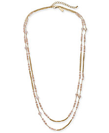 "I.N.C. Gold-Tone Beaded Double Long Layer Necklace, 60"" + 3"" extender, Created for Macy's"
