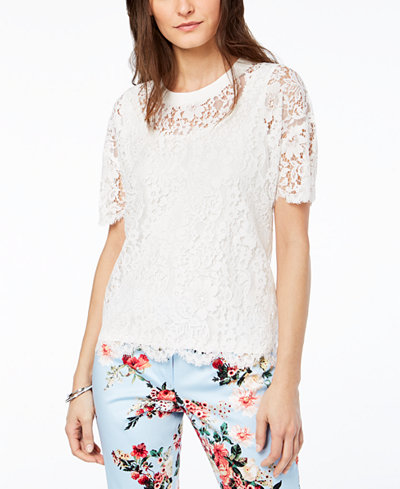 Tommy Hilfiger Scallop-Trim Lace Top