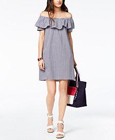 Tommy Hilfiger Cotton Gingham Off-The-Shoulder Dress