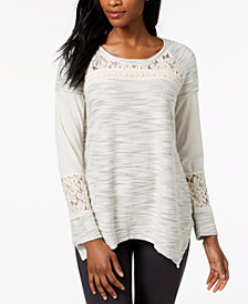Style & Co Asymmetrical Lace-Contrast Knit Top, Created for Macy's