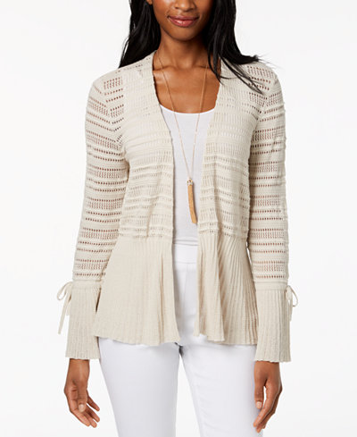 Style & Co Cotton Pointelle Peplum Cardigan, Created for Macy's