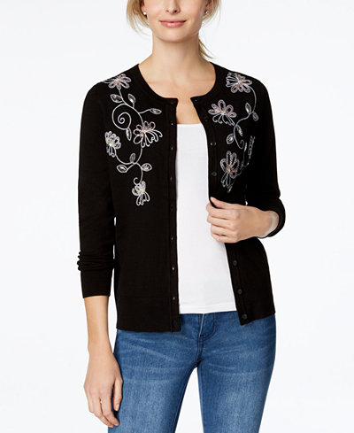 Charter Club Petite Embroidered Beaded Cardigan, Created for Macy's