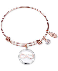 Unwritten Cubic Zirconia Infinity Charm Adjustable Bangle Bracelet in Rose Gold-Tone Stainless Steel