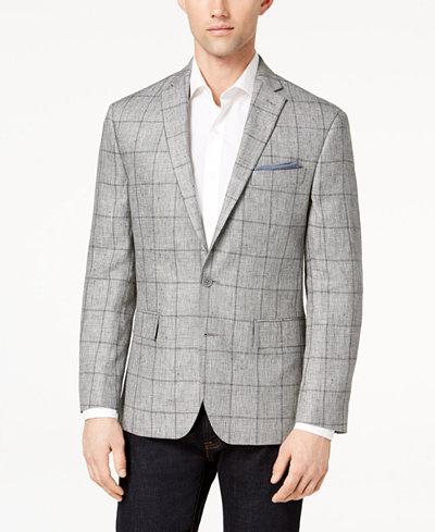 Ryan Seacrest Distinction™ Men's Modern-Fit Gray Windowpane Linen Sport Coat, Created for Macy's