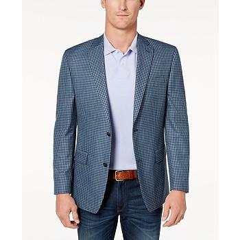 Michael Kors Mens Classic-Fit Blue Check Sport Coat