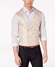 Tallia Orange Men's Slim-Fit Gold Metallic Vest