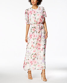 Nine West Floral-Print Belted Maxi Dress, Created for Macy's