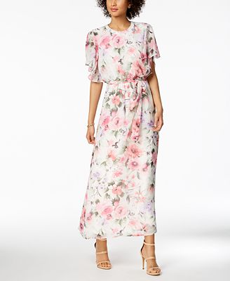 Nine West Floral Print Belted Maxi Dress Created For Macy S
