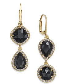 kate spade new york Gold-Tone Crystal Asymmetrical Double Drop Earrings