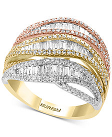 EFFY® Diamond Tri-Color Statement Ring (1-3/8 ct. t.w.) in 14k Gold, White Gold & Rose Gold