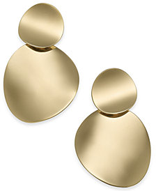 kate spade new york Gold-Tone Curved Disc Double Drop Earrings
