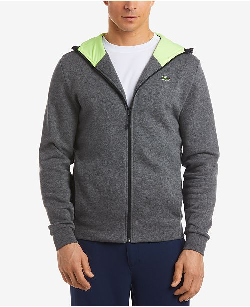 5dda5310bfc Lacoste Men s Brushed Fleece Full-Zip Hoodie   Reviews - Hoodies ...