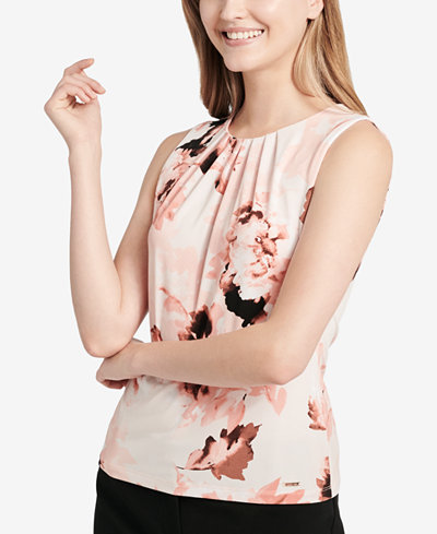 Calvin Klein Printed Sleeveless Top, Regular & Petite