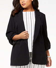 Nine West Plus Size Open-Front Blazer, Created for Macy's