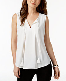 Nine West Sleeveless Tassel-Tie Top