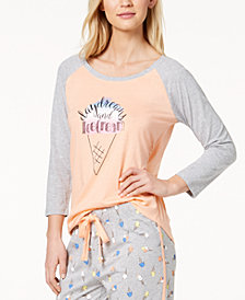 Jenni By Jennifer Moore Graphic-Print Pajama Top, Created for Macy's