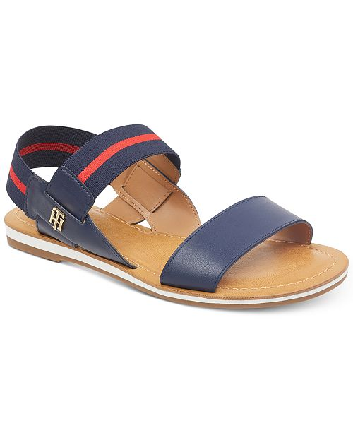 Tommy Hilfiger Women's Geena Stretch Slingback Flat Sandals Women's Shoes UjBrKbMIK