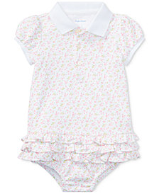 Ralph Lauren Floral-Print Cotton Polo Dress, Baby Girls