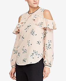 Lauren Ralph Lauren Petite Floral-Print Cold-Shoulder Top