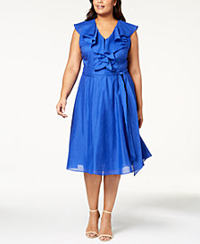 Calvin Klein Plus Size Cotton Ruffled Fit & Flare Dress
