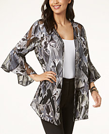 Alfani Printed Ruffle-Sleeve Jacket, Created for Macy's