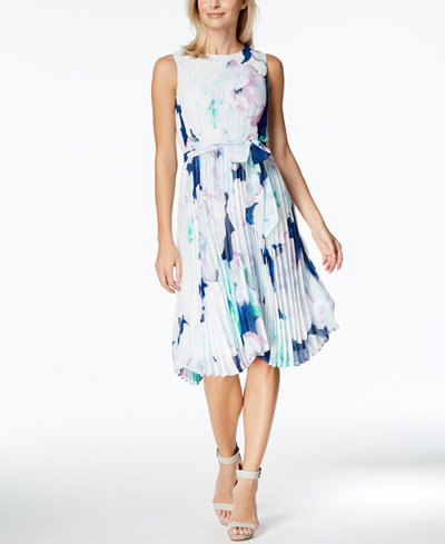 Calvin Klein Printed Pleated Chiffon Fit & Flare Dress