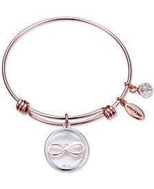Infinity Glass Shaker Charm Adjustable Bangle Bracelet in Rose Gold-Tone Stainless Steel