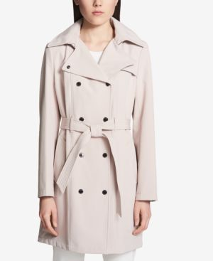 Petite Belted Softshell Trench Coat, Blush