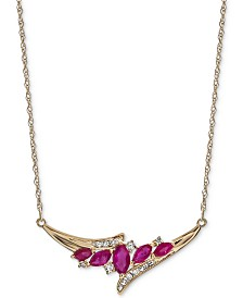 """Sapphire (1 ct. t.w.) & Diamond (1/6 ct. t.w.) 17"""" Statement Necklace in 14k Gold (Also Available in Emerald & Ruby)"""