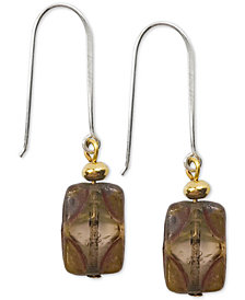 Jody Coyote Tortoise-Look Glass Bead Drop Earrings in Sterling Silver & Gold-Plate