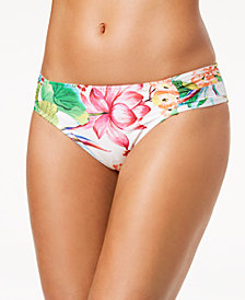 La Blanca Bora Bora Printed Side-Shirred Bikini Bottoms