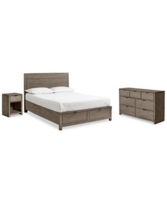Tribeca Grey Storage Bedroom Furniture, 3-Pc. Set (Full Bed, Dresser & Nightstand), Created for Macy's