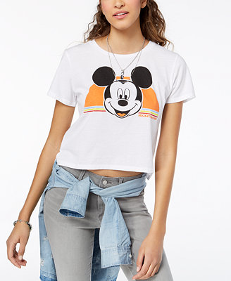 Juniors' Cropped Mickey Mouse T Shirt by Freeze 24 7