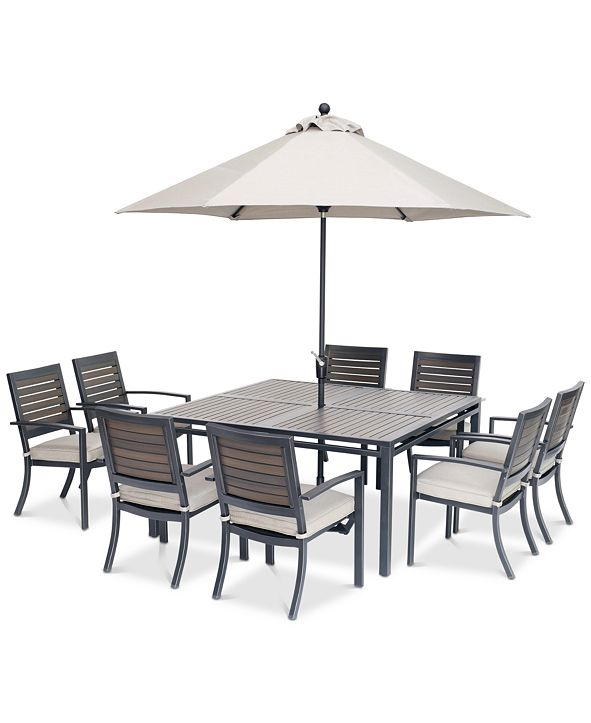 "Furniture Marlough II Outdoor Aluminum 9-Pc. Dining Set (62"" Square Dining Table and 8 Dining Chairs) with Sunbrella® Cushions, Created for Macy's"