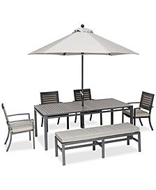 "Marlough II Outdoor Aluminum 6-Pc. Dining Set (84"" x 42"" Dining Table, 4 Dining Chairs and 1 Bench) with Sunbrella® Cushions, Created for Macy's"