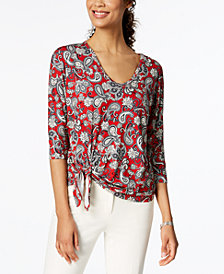Karen Kane Printed Tie-Hem Top, Created for Macy's