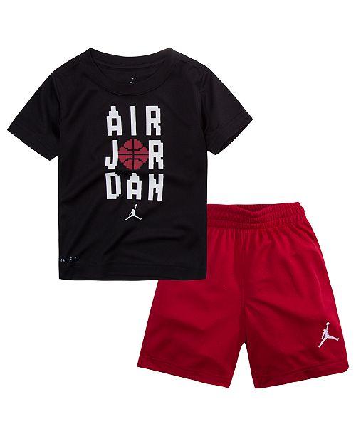 380bb00ddc65a8 Jordan 2-Pc. Pixel-Print T-Shirt   Shorts Set