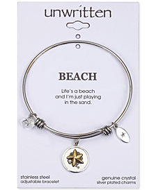 "Unwritten ""Life's A Beach"" Starfish Charm Adjustable Bangle Bracelet in Two-Tone Stainless Steel"