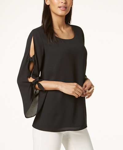 Alfani Tie-Sleeve Blouse, Created for Macy's