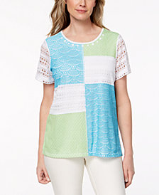 Alfred Dunner Petite Turks & Caicos Patchwork Lace Top