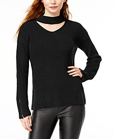 Bar III Zip-Cuff Choker-Neck Sweater, Created for Macy's