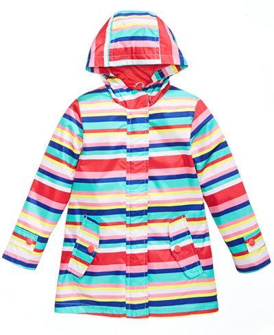 Carter's Striped Hooded Rain Jacket, Little Girls
