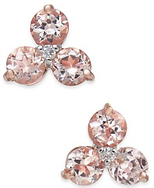Morganite (1-1/2 ct. t.w.) & Diamond Accent Tri-Stone Stud Earring in 14k Rose Gold